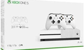 Latest Flagship Microsoft Xbox One S 1TB HDD Bundle with Two (2X) Wi-fi Controllers, 1-Month Recreation Move Trial, 14-Day Xbox Dwell Gold Trial – White