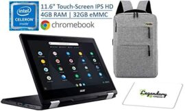 2020 Acer Spin 11 2-in-1 11.6″ IPS Touch-Screen Convertible Chromebook, Intel Celeron Dual-Core N3350, 4GB DDR4, 32GB eMMC, 10-Hour Battery /Legendary Computer Backpack & Mouse Pad Bundle