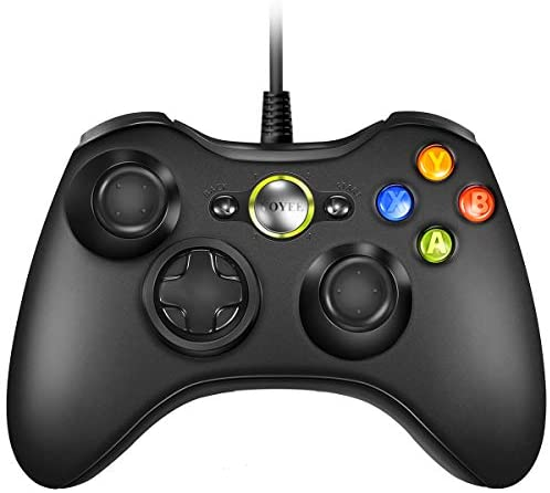VOYEE Wired Xbox 360 Controller Compatible with Microsoft Xbox 360 & Slim / Windows / PC (Black)