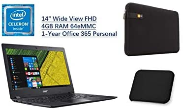 2020 Acer Aspire 1,14 Inches FHD Display Prime Laptop, Intel Celeron N4000, 4GB DDR4, 64GB eMMC, Office 365 Personal 1-Year Included, W/ BLZ Laptop Sleeve Case & Mouse Pad Bundle