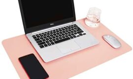 YSAGi Multifunctional Office Desk Pad, 23.6″ x 13.7″ Ultra Thin Waterproof PU Leather Mouse Pad, Dual Use Desk Writing Mat for Office/Home (23.6″ x 13.7″, Pink)