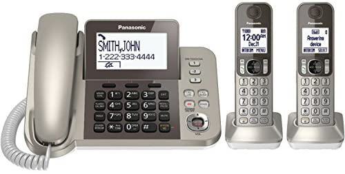 Read more about the article PANASONIC Corded / Cordless Phone System with Answering Machine and One Touch Call Blocking – 2 Handsets – KX-TGF352N (Champagne Gold)