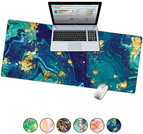 French Koko Large Desk Mouse Pad Desktop Mat, Home Office School Cute Decor Extended Laptop Big Writing Blotter Protector Computer Accessories Pretty Mousepad Women 31″x15″ (Marble-lous Fierce)