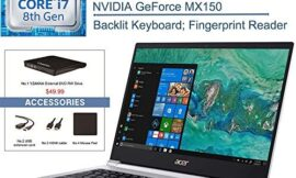 2020 Acer Swift 3 14″ FHD Laptop Computer, 8th Gen Intel Quad-Core i7 8565U Up to 4.6GHz, 8GB DDR4 RAM, 256GB PCIe SSD, NVIDIA GeForce MX150, Backlit KB, Windows 10, YZAKKA External DVD + Accessories