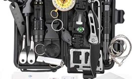 KOSIN Survival Gear, 18 in 1 Emergency Survival Kit, Cool Gadgets Christmas Fishing Birthday Gifts for Men Dad Husband Boyfriend, Professional Tactical Defense Equitment Tool Backpack Fire Starter