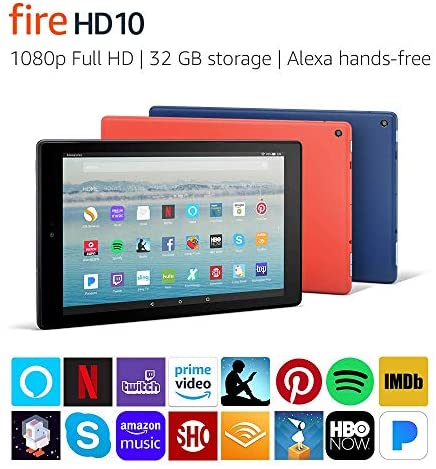 Certified Refurbished Fire HD 10 Tablet with Alexa Hands-Free, 10.1″ 1080p Full HD Display, 32 GB, Black – with Special Offers (Previous Generation – 7th)