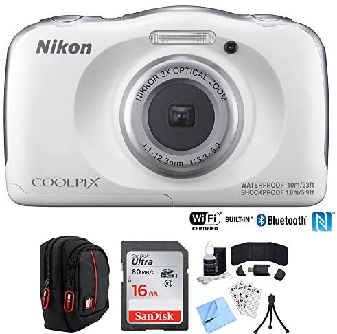 Nikon COOLPIX W100 13.2MP Digital Camera w/ 3X Zoom Lens (Renewed) with 16GB Bundle Includes, Sandisk Ultra SDHC 16GB Memory Card + Point and Shoot Field Bag Camera Case + Many More