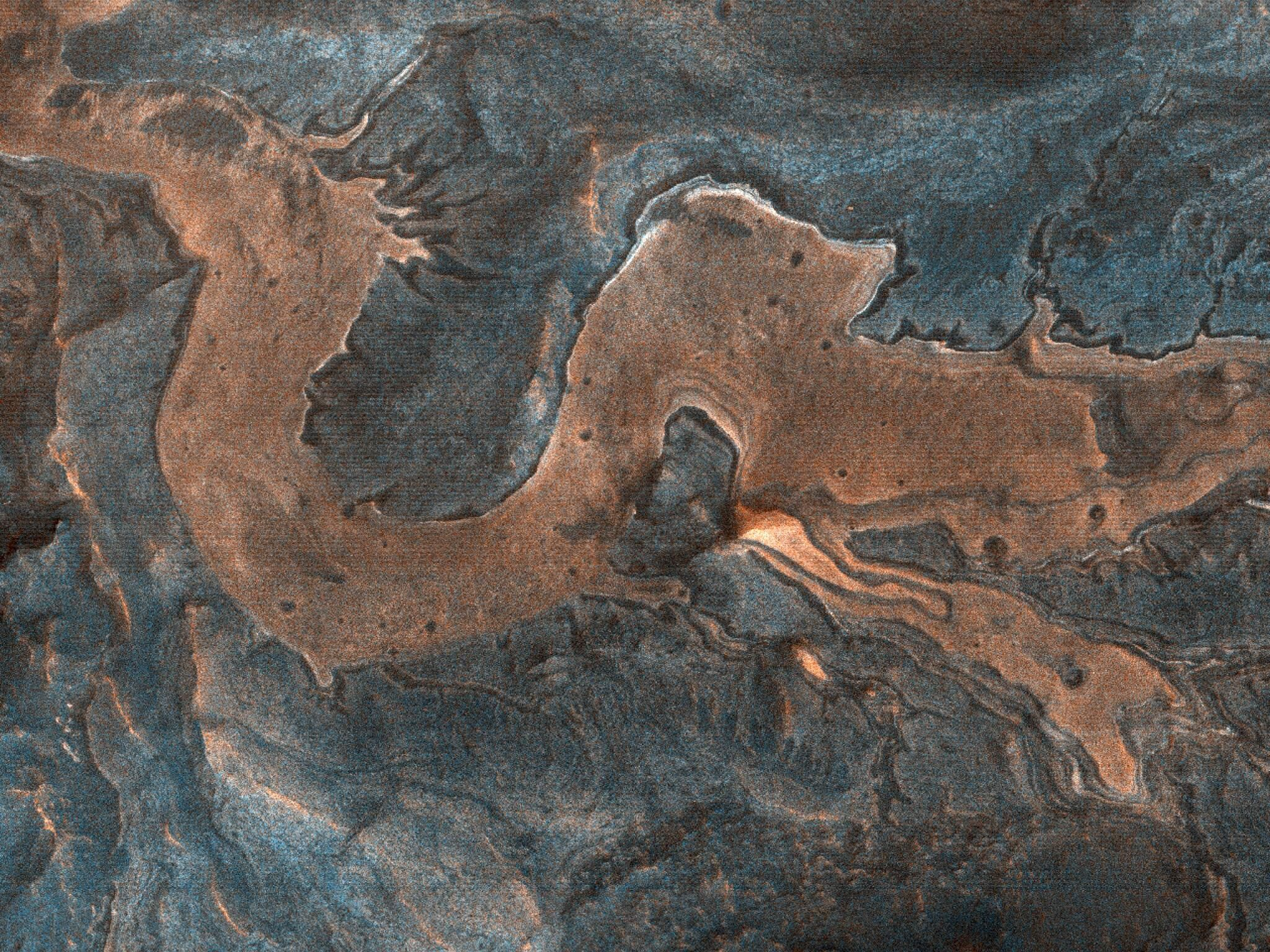 NASA imagines a dragon on Mars in a sinuous, scenic canyon