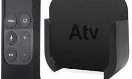 TV Mount Compatible with Apple TV 4th and 4K 5th Generation, Auswaur Wall Mount Bracket Holder Compatible with Apple TV 4th and 4K 5th Gen with Black Silicone Siri Remote Protective Case Cover