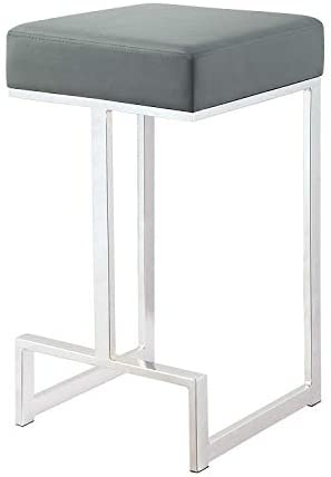 Coaster CO-105252 Counter Height Stool, Grey/Chrome