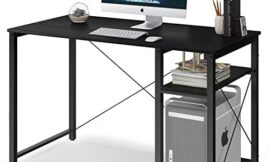 Computer Desk with Shelves,47″ Modern Sturdy Writing Desk for Home Office,Office Desk with Bookshelf, Coleshome, Black