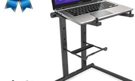 Pyle Portable Folding Laptop Stand – Standing Table with Foldable Height and Secondary Accessory Tray for iPad, Tablet, DJ Mixer, Workstation, Gaming and Home Use with Bag – PLPTS35