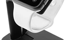 Macally Stand for iWatch – The Perfect Nightstand Charging Dock Station – Compatible with Smartwatch Series 5, Series 4, Series 3, Series 2, Series 1 (44mm, 42mm, 40mm, 38mm) – Black
