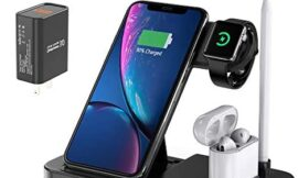 EVIGAL 4 in 1 Wireless Charger, Qi-Certified Fast Charging Station Compatible Apple Watch & AirPods & Apple Pencil, iPhone11/11Pro/11Pro Max/X/XS/XS Max/XR/8/8Plus, Samsung, Etc (with QC3.0 Adapter)