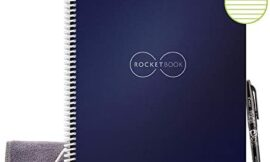 Rocketbook Smart Reusable Notebook – Lined Eco-Friendly Notebook with 1 Pilot Frixion Pen & 1 Microfiber Cloth Included- Midnight Blue Cover, Letter Size (8.5″ x 11″)