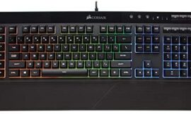 Corsair K55 RGB Gaming Keyboard – IP42 Dust and Water Resistance – 6 Programmable Macro Keys – Dedicated Media Keys – Detachable Palm Rest Included
