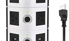 Power Strip Tower JACKYLED Surge Protector Electric Charging Station 3000W 13A 10 Outlets 4 USB Ports with 16AWG 6.5ft Heavy Duty Extension Cord Universal for Home Office