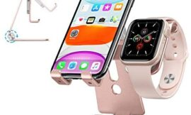 Cell Phone Stand for Apple Watch – OMOTON 2 in 1 Aluminum Foldable Charging Dock Stand for Apple Watch 5/4/3/2/1 and iPhone SE/11/11 Pro/11 Pro Max/XR/Xs/Xs Max (Rose Gold)