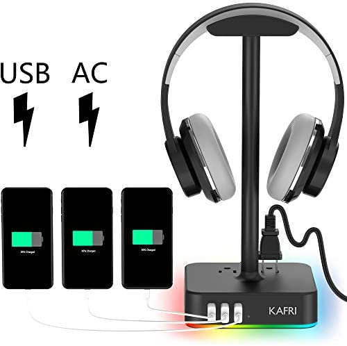 RGB Headphone Stand with USB Charger KAFRI Desk Gaming Headset Holder Hanger Rack with 3 USB Charging Port and 2 Outlet – Suitable for Gamer Desktop Table Game Earphone Accessories Boyfriend Gift