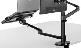 viozon Monitor and Laptop Mount, 2-in-1 Adjustable Dual Monitor Arm Desk Mounts,Single Desk Arm Stand/Holder for 17 to 32 Inch LCD Computer Screens, Extra Tray Fits 12 to 17 inch Laptops (Black)