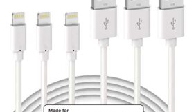 Quntis Lightning Cable 3Pack 6ft Premium Lightning to USB A Charger Cable Compatible with iPhone 11 Xs Max XR X 8 Plus 7 Plus 6 Plus SE iPad Pro iPod and More – White