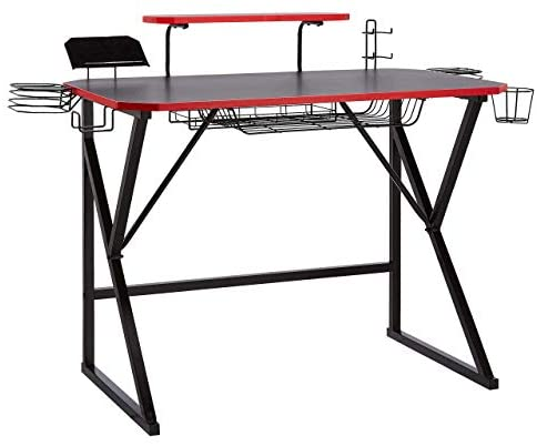AmazonBasics Gaming Computer Desk with Storage for Controller, Headphone & Speaker – Red