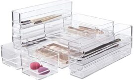 STORi Clear Plastic Makeup & Vanity Drawer Organizers | 10 Piece Set