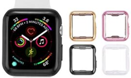 Tranesca 4 Pack Apple Watch case with Built-in HD Clear Ultra-Thin TPU Screen Protector Cover for Apple Watch Series 2 and Apple Watch Series 3 38mm – 4 Pack (Clear+Black+Gold+Rose Gold)