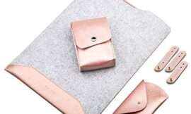 Soyan 13-Inch Leather and Felt Hybrid Laptop Sleeve Accessories Kit, Compatible with 13-inch MacBook Air/Pro Model A1466/A1502/A1425 (Rose Gold)