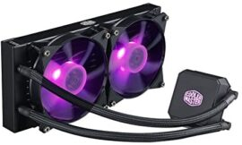 Cooler Master MasterLiquid LC240E RGB Close-Loop AIO CPU Liquid Cooler, 240mm Radiator, Dual Chamber RGB Pump, Dual MF120R RGB Fans w/ RGB Lighting Sync for AMD Ryzen/Intel 1151/2066