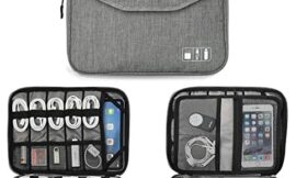 """Electronics Organizer, Jelly Comb Electronic Accessories Double Layer Travel Cable Organizer Cord Storage Bag for Cables, iPad (Up to 12.9""""), Power Bank, USB Flash Drive and More-Large (Gray)"""