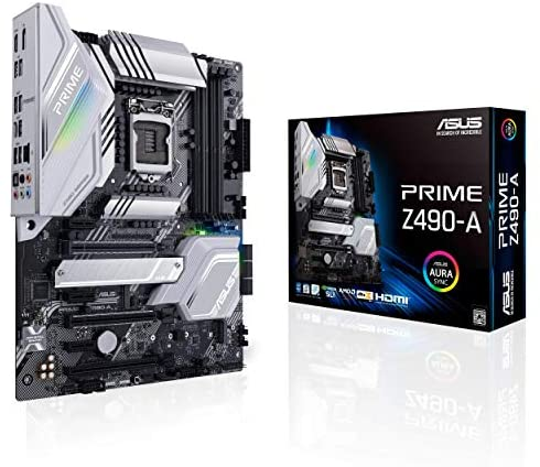 ASUS Prime Z490-A LGA 1200 (Intel 10th Gen) ATX Motherboard (14 DrMOS Power Stages,Dual M.2, Intel 2.5 Gb Ethernet, USB 3.2 Front Panel Type-C, Thunderbolt 3 Support, Aura Sync RGB)