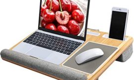 Lap Desk – Fits up to 17 inches Laptop Desk, Built in Mouse Pad & Wrist Pad for Notebook, MacBook, Tablet, Laptop Stand with Tablet, Pen & Phone Holder (Wood Grain)