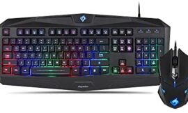 EagleTec K005-BA PC Gaming Keyboard and Mouse Combo Wired LED RGB Backlit Keyboard with Multimedia Keys & 5 Button Mouse with 3200 DPI for Windows PC Gamers (RGB Keyboard & Mouse Set)
