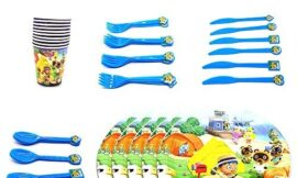 Animal Crossing Birthday Party Supplies Party Decorations Party Favors for Kids,for 20 Guests Disposable Paper Plates, Cups, Knifes, Forks and Spoons(Set of 100Pcs)