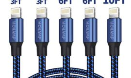 HOVAMP MFi Certified 5Pack[3-3-6-6-10 ft] Nylon Braided Cell-Phone Charging Cable USB Fast Charging & Syncing Long Cord,iPhone Charger Compatible iPhone XS/Max/XR/X/8/8P/7/7P/6/iPad/iPod