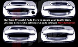 A-PADS 4 Chrome Door Handle Covers for Cadillac ESCALADE 2002-2006 / GMC SIERRA 1999-06 & YUKON 2000-06 – WITHOUT Passenger Keyhole