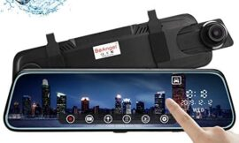 10 Inch Touch Screen Car Camera 10″ Rearview Mirror FHD 1080P Dash DVR Cam Backup Camera Night Vision Front and Rear Dual Lens Video Recorder Reversing