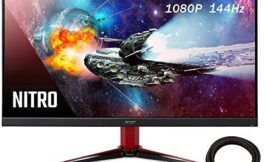 2020 Premium Acer Nitro Pbmiipx 27 Inch 144Hz FHD (1920 x 1080) IPS VESA Compatible Monitor with AMD Radeon FREESYNC Technology, HDMI 2.0, Display Port + NexiGo 4K HDMI Cable