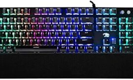 iBUYPOWER MEK 3 LT Mechanical Gaming Keyboard with Clicky Blue Switches, Aluminum Top Surface, Full Sized Keyboard, 104 Keys Low-Profile, Double Injection Keycaps, Braided USB