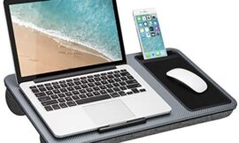 LapGear Home Office Lap Desk with Device Ledge, Mouse Pad, and Phone Holder – Silver Carbon – Fits Up to 15.6 Inch Laptops – Style No. 91585