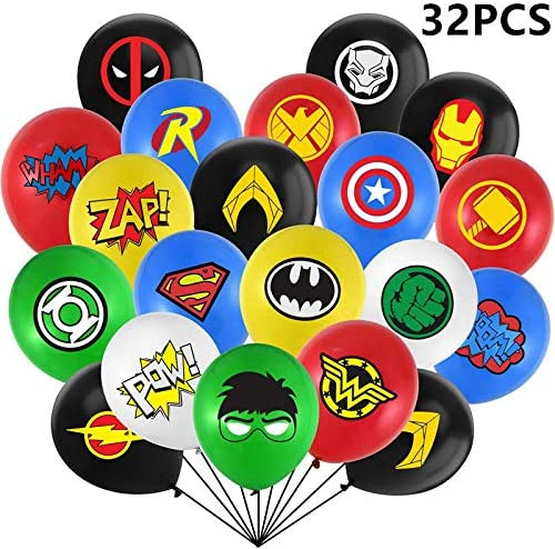32 Pack Superhero Balloons Superhero Party Supplies Balloons for Kids Birthday Party Superhero Birthday Party Favors Party Decorations