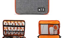 """Electronics Organizer, Jelly Comb Electronic Accessories Cable Organizer Bag Waterproof Travel Cable Storage Bag for Charging Cable, Cellphone, iPad (Up to 11"""" and More-Large(Orange and Gray)"""