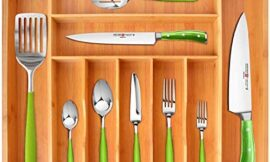 Bamboo Kitchen Drawer Organizer – Expandable Silverware Organizer/Utensil Holder and Cutlery Tray with Grooved Drawer Dividers for Flatware and Kitchen Utensils (9 Slots)