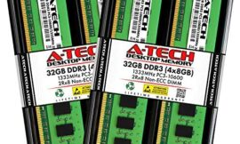 A-Tech 32GB (4x8GB) DDR3 1333MHz DIMM PC3-10600 2Rx8 Dual Rank 1.5V CL9 240-Pin Non-ECC UDIMM Desktop RAM Memory Upgrade Kit