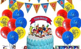 Sonic party supplies for kids' birthday, Sonic party decorations included plates, cups, napkins, tablecloth, birthday banner, triangle pull flag, balloons, Cake topper (181 pcs)