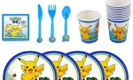 Pikachu Party Supplies Birthday Party Decoration with Cup Cake Plates Knife and fork Set Birthday Party Favor,Set of 120