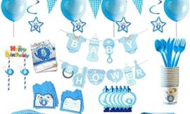 Blue Elephant Party Supplies Baby Shower Decorations For Boy Baby Elephant Party Decorations Baby Elephant Birthday Party Favor,Set of 145