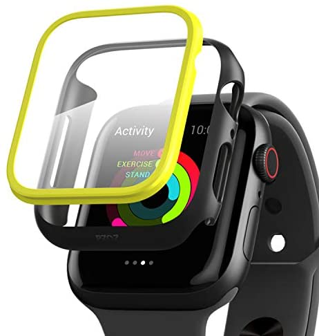 PZOZ Watch Case Compatible Apple Watch Series 5 / Series 4 44mm with HD Tempered Glass Screen Protector Accessories Matte Bumper and Frame Cover 2-Color Assemble for Women Men iWatch (Black Yellow)