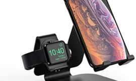 2 in 1 Aluminum Charging Station for Apple Watch Charger Stand Dock for iWatch Series5/4/3/2/1,iPad and iPhone 11/11 Pro/ 11 Pro Max/iPhone Xs/X Max/X Black (Original Charger & Cables Not Included)